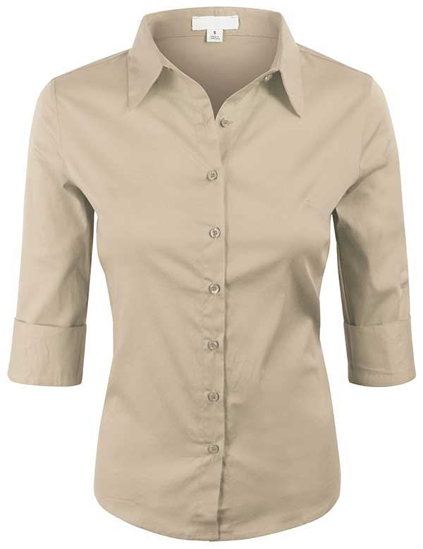 3/4 Sleeve Basic Simple Button down Blouse with Stretch