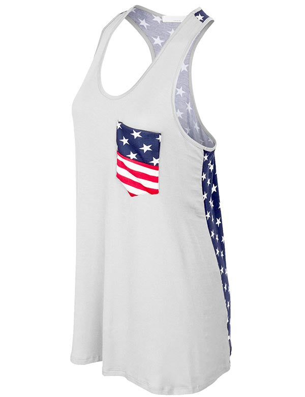 American Flag Sleeveless Jersey Tank Tunic Top Made in USA