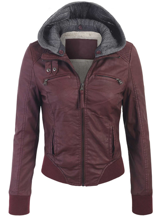 Faux Leather Zip Up Fur Lining Jacket with Knit Hoodie