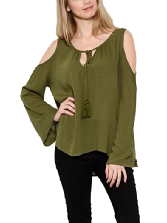[Clearance] Womens Long Sleeve Cold Shoulder Casual Sheer Top Shirts