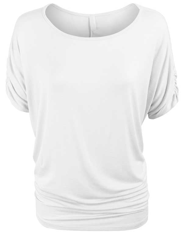 Solid Basic Boatneck Dolman Top with Sleeve Shirring