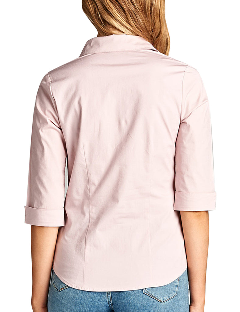 Womens Classic Solid 3/4 Sleeve Button Down Blouse Dress Shirt