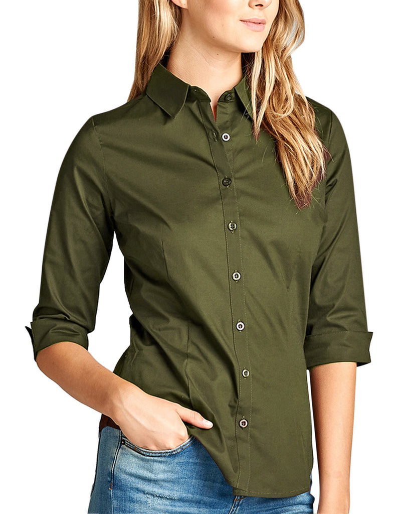 11616f3d6fbdc1 ... Womens Classic Solid 3/4 Sleeve Button Down Blouse Dress Shirt ...