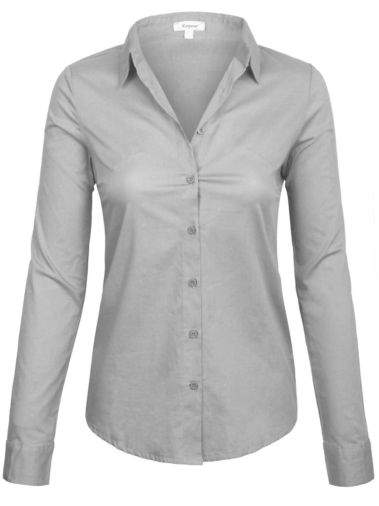 [Clearance] Women's Classic Long Sleeve Simple Solid Color Button Down Blouse