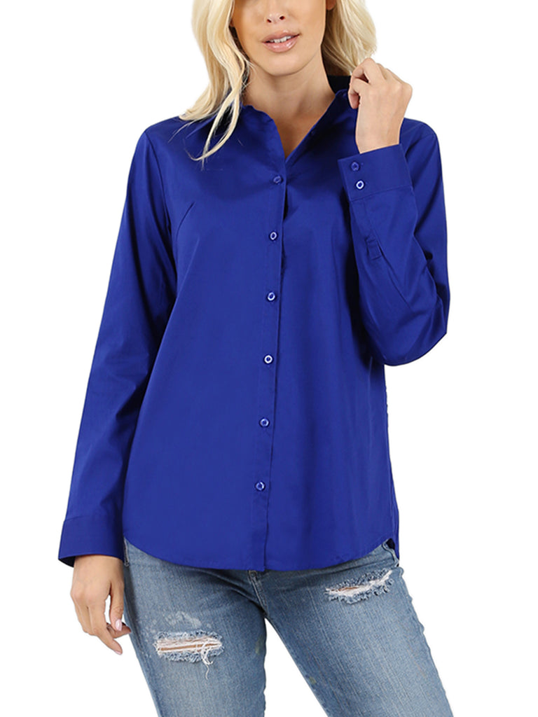 KOGMO Women's Basic Long Sleeve Button Down Shirts Office Work Blouse Regular Fit (S-3X)
