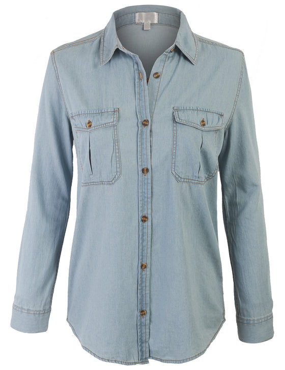 Boyfriend Chambray Denim Shirts Blouse