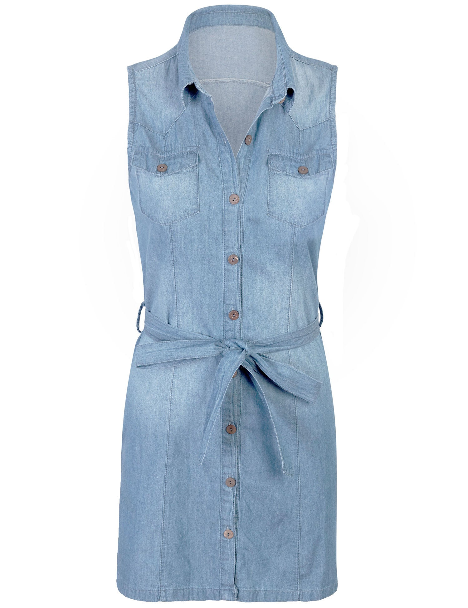 e046a1698ca Sleeveless Button Front Belted Washed Chambray Denim Shirt Dress - KOGMO