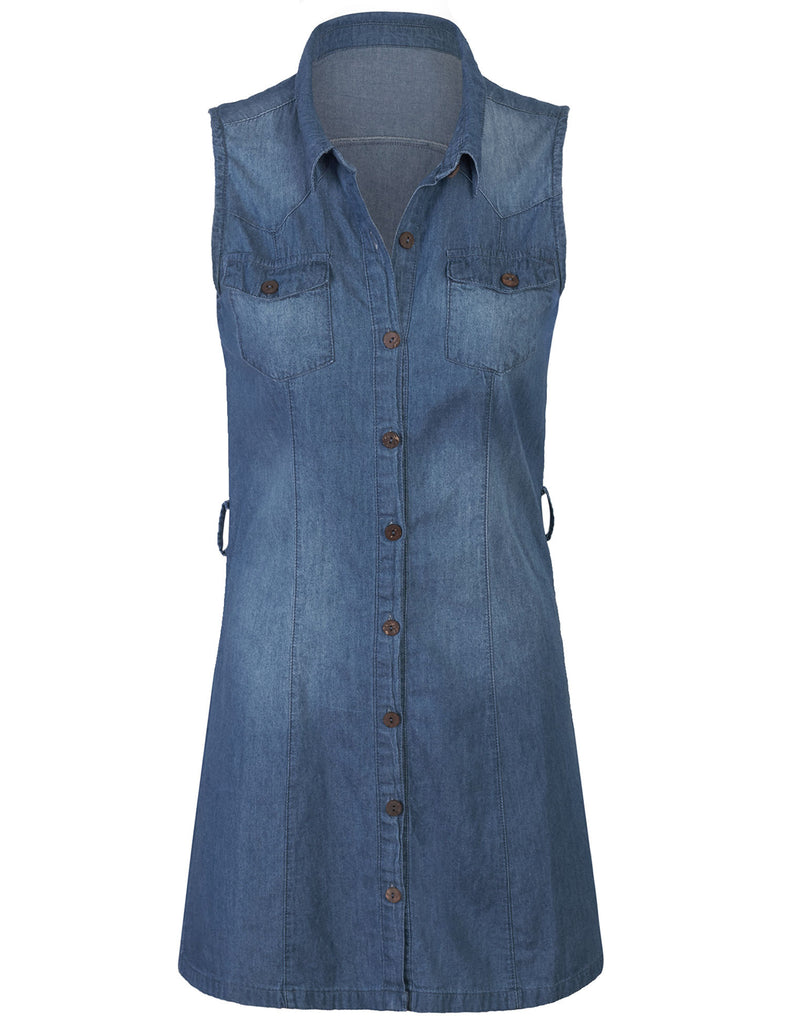 Sleeveless Button Front Belted Washed Chambray Denim Shirt Dress