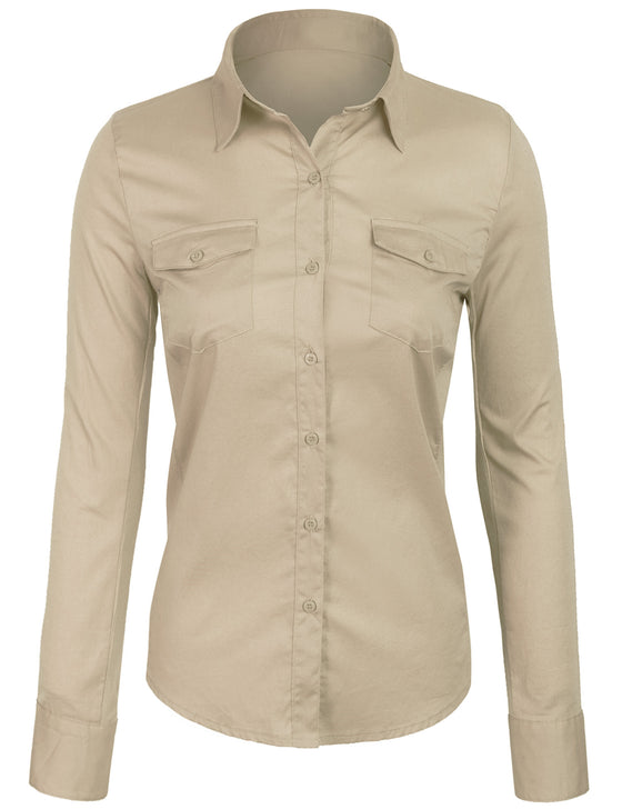 Button Down Cotton Blouse with Stretching Ribbed Sleeve & Side