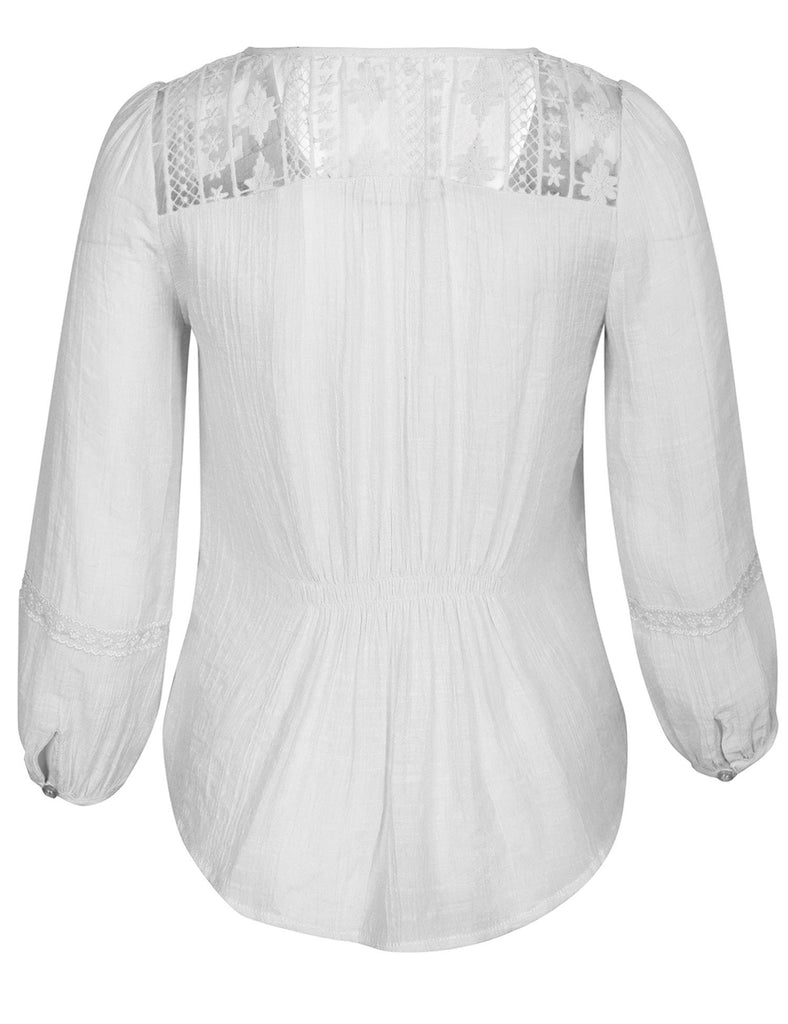 3/4 Sleeve Button Down Blouse Shirts with Lace Trim