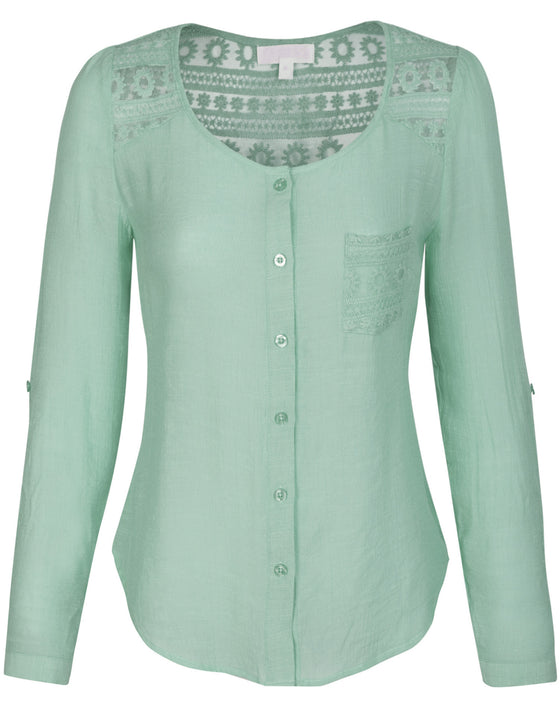 3/4 Roll Up Sleeve Button Down Blouse Shirts with Lace Trim and Pocket