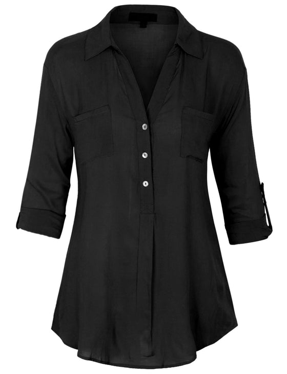 3/4 Roll Up Sleeve Pullover Woven Blouse Shirts