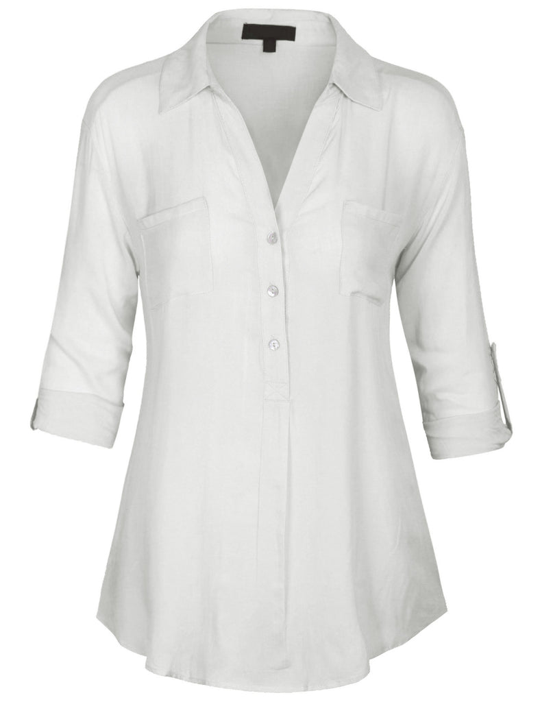 [Clearance] Womens 3/4 Roll Up Sleeve Pullover Woven Blouse Shirts