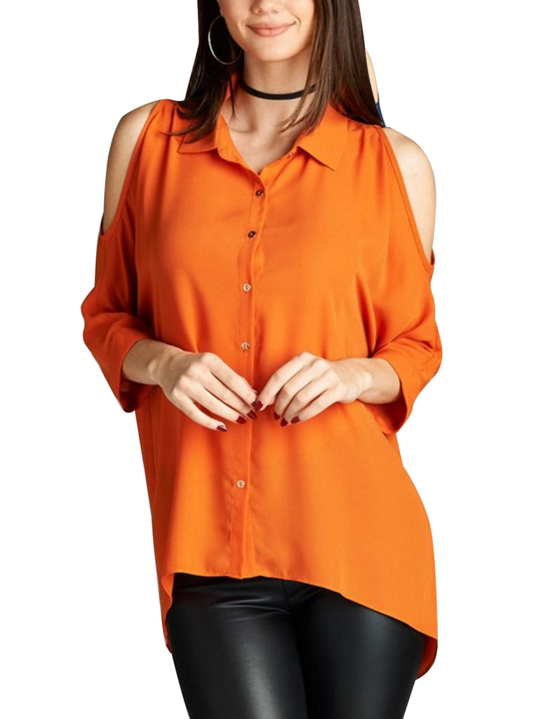 3/4 Sleeve Collar Button Down Cold Shoulder Chiffon Blouse Shirts