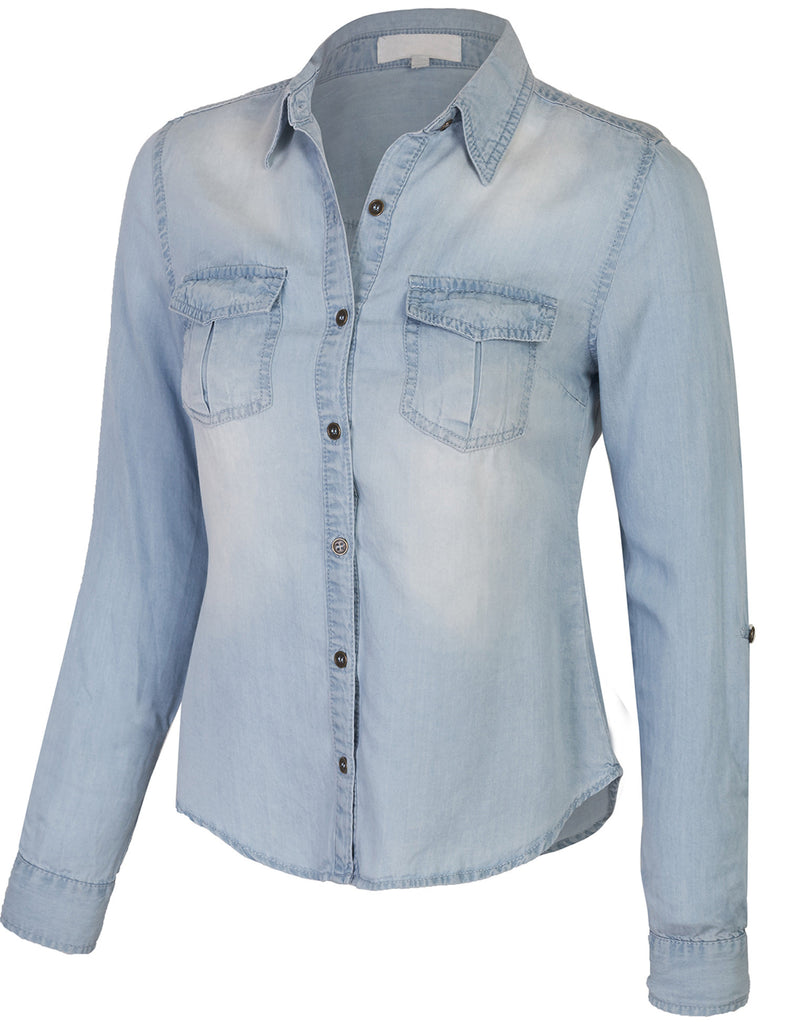 Long Sleeve Tencel Denim Shirt Fitted Blouse with Roll Up Sleeve