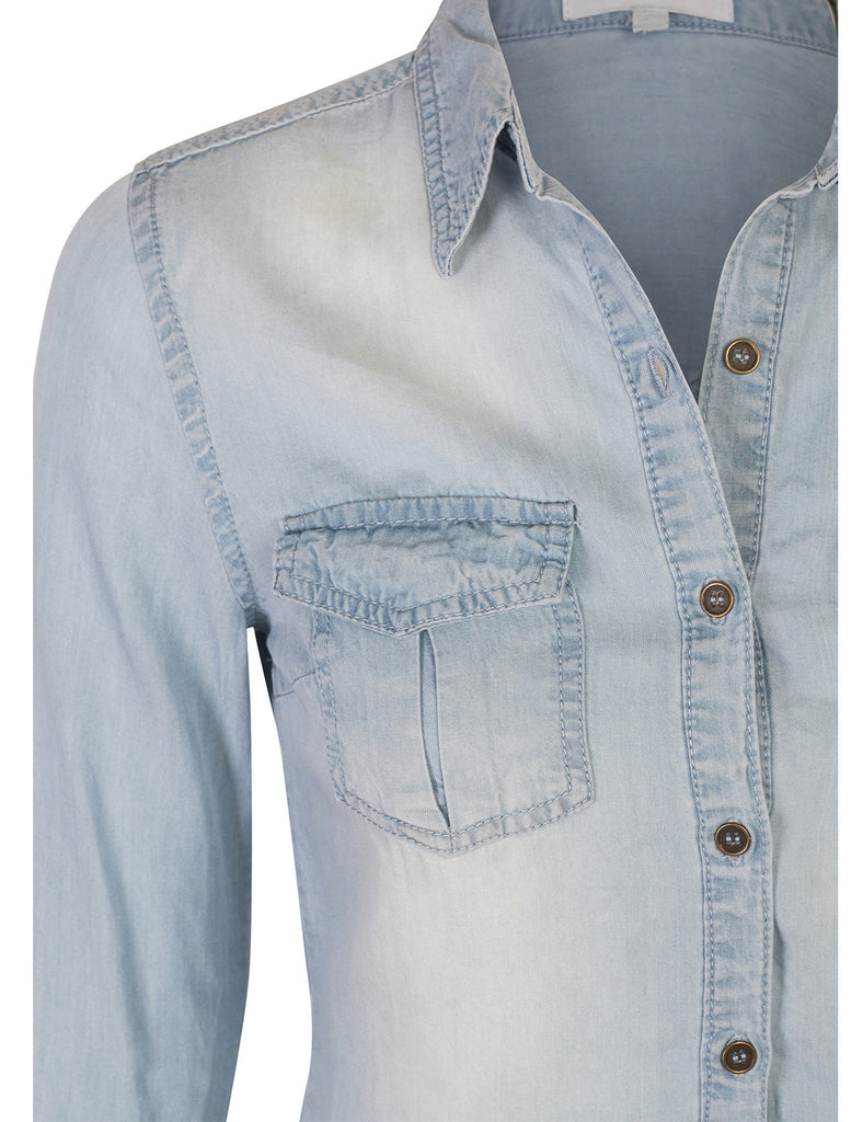 Long Sleeve Tencel Denim Shirt Relaxed Fit Blouse