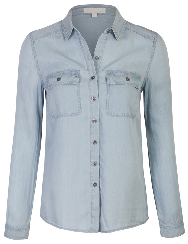 [Clearance] Womes Long Sleeve Tencel Denim Shirt Relaxed Fit Blouse
