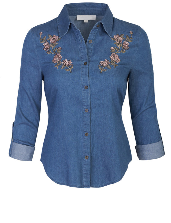 Womens Long Sleeve Denim Shirt Fitted Blouse with Embroidery