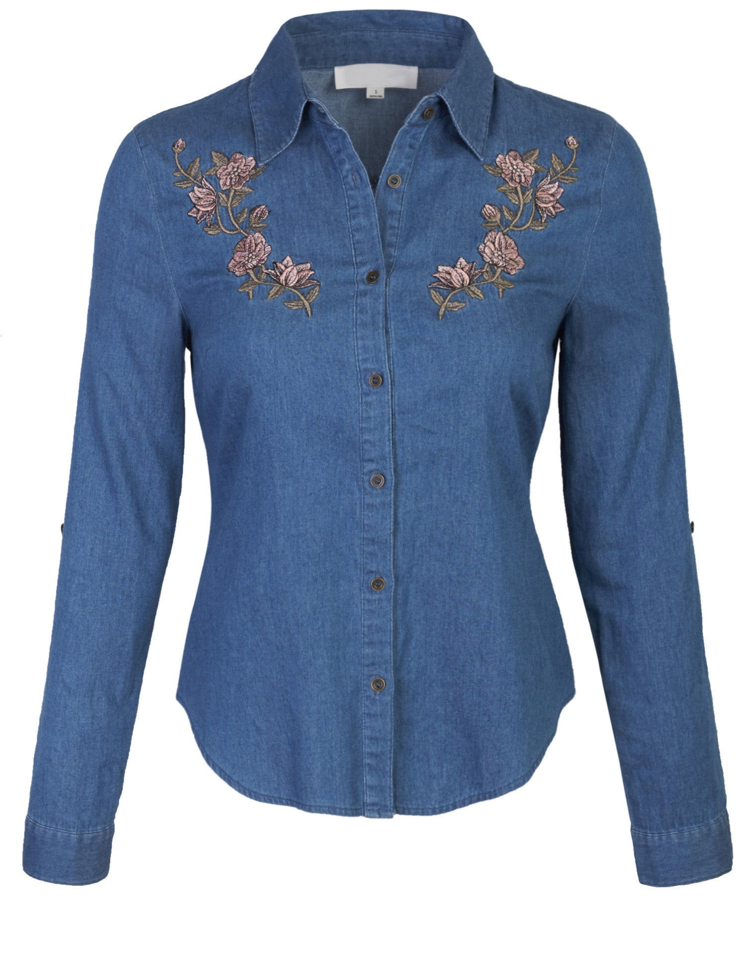 14750af9 ... Womens Long Sleeve Denim Shirt Fitted Blouse with Embroidery ...