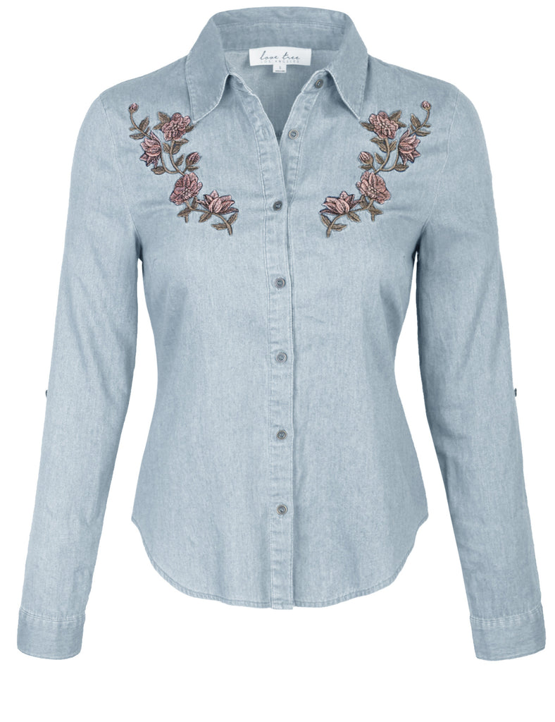 KOGMO Womens Long Sleeve Denim Shirt Fitted Blouse with Embroidery