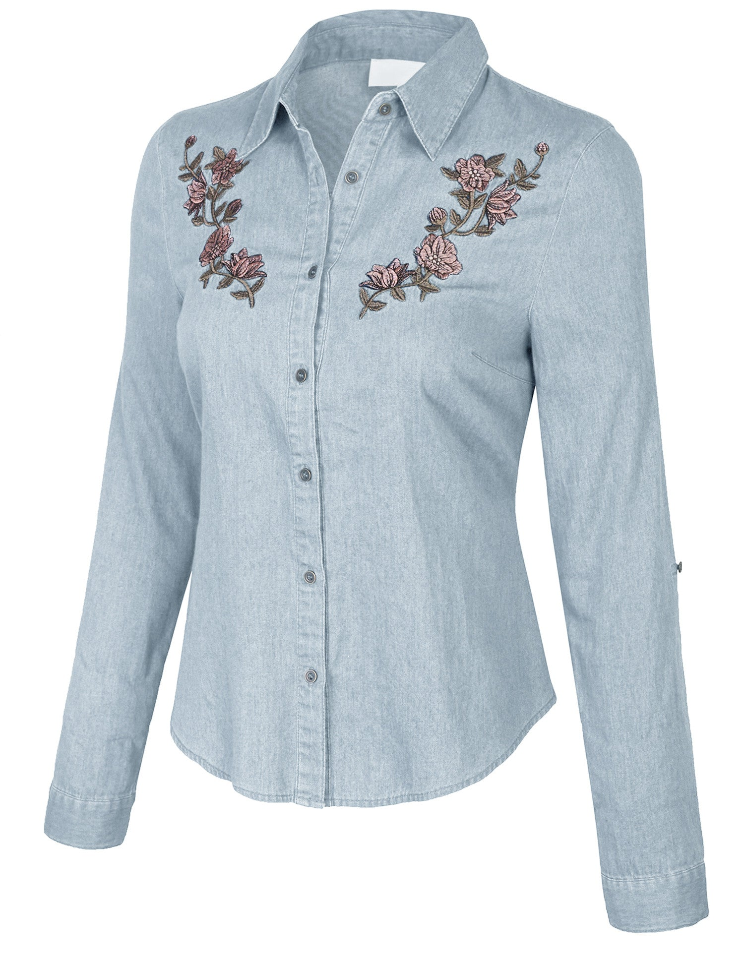 76b3142903 Womens Long Sleeve Denim Shirt Fitted Blouse with Embroidery - KOGMO