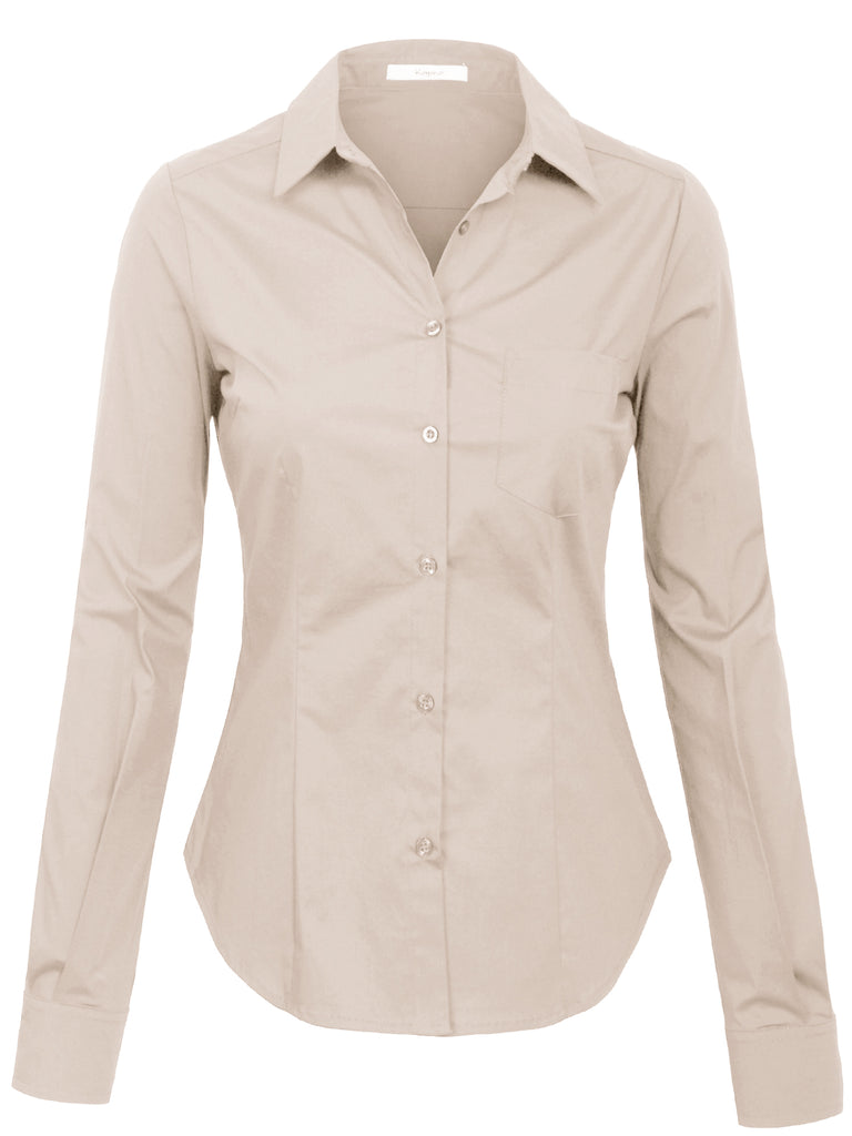 KOGMO Womens Long Sleeve Button Down Shirts Office Work Blouse with Pocket (S-3X)