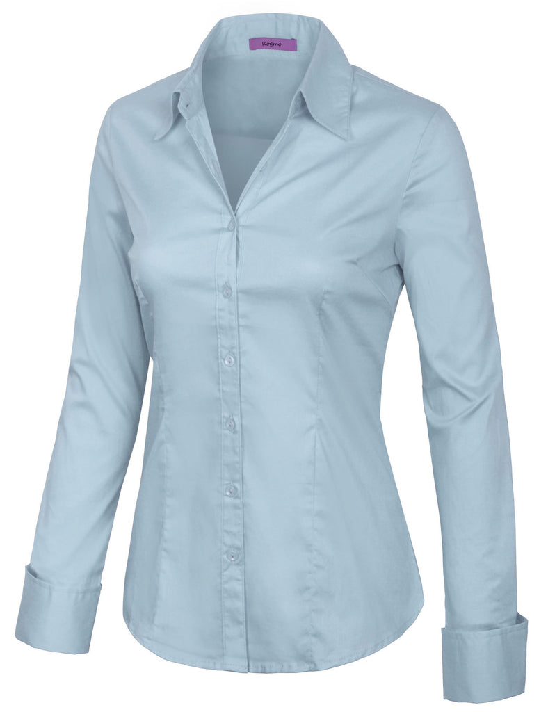 Women's Solid Long Sleeve Button Down Office Blouse Dress Shirt (S-3X)