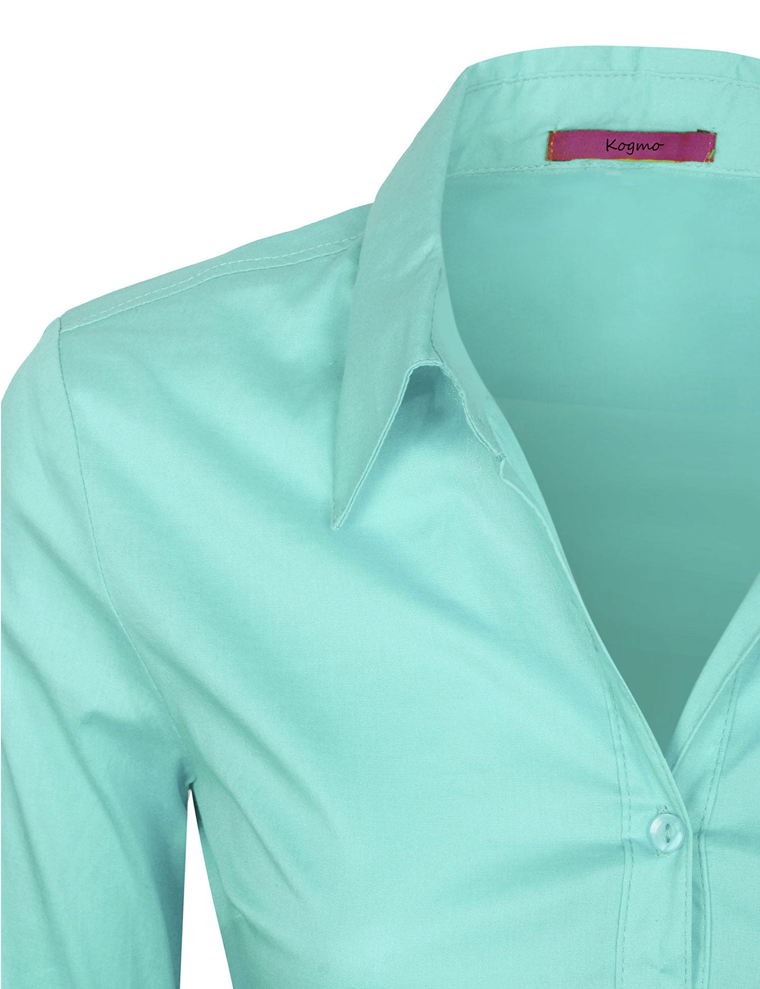 ae085768 ... Women's Solid Long Sleeve Button Down Office Blouse Dress Shirt (S-3X)  ...