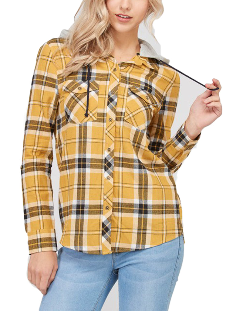 KOGMO Womens Plaid Button Down Shirts with Detachable Knit Hoodie