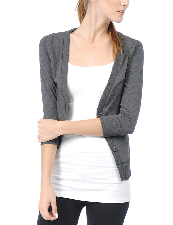 [Clearance] Women's Classic 3/4 Sleeve Deep V Neck Cardigan
