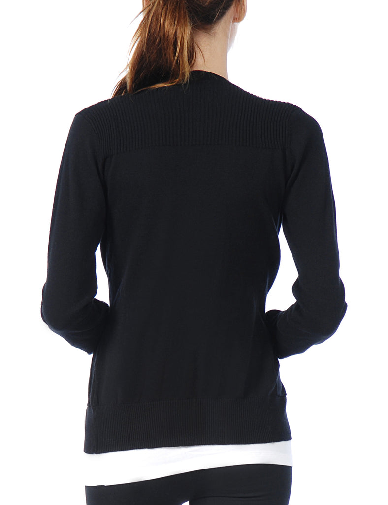 [Clearance] Women's Classic Long Sleeve Deep V Neck with Adjustable Roll Up Sleeve