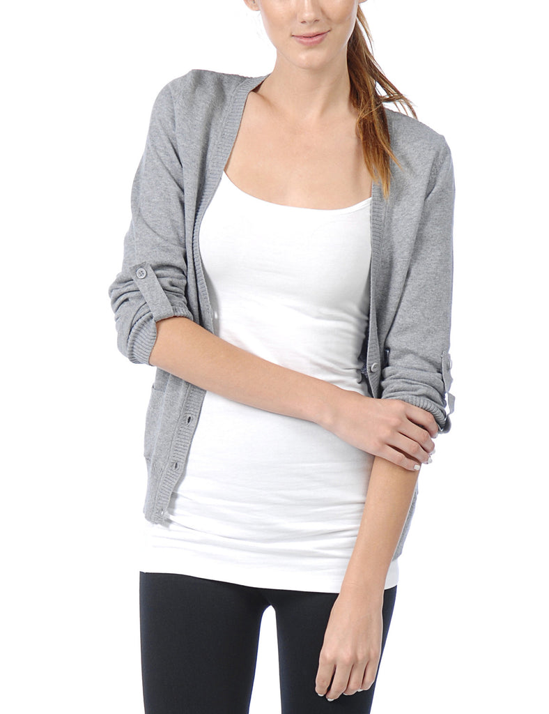 Classic Long Sleeve Deep V Neck with Adjustable Roll Up Sleeve