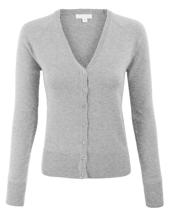 Women's Basic Long Sleeve V Neck Cardigan Sweater