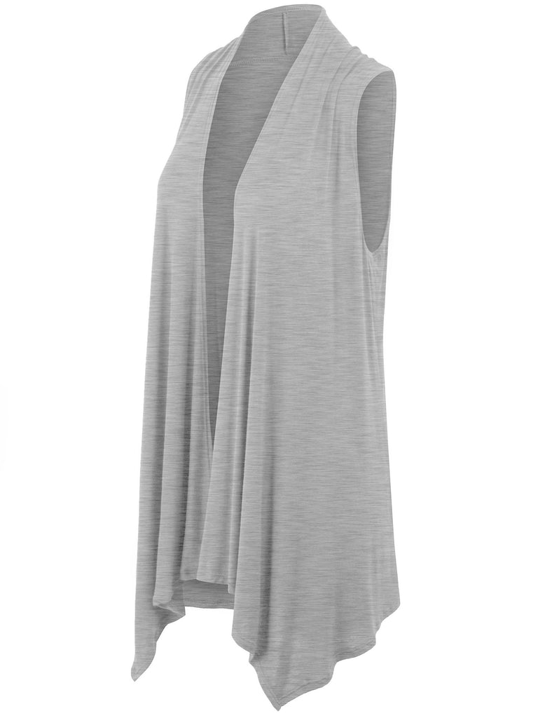 Sleeveless Drape Open Front Cardigan Shawl