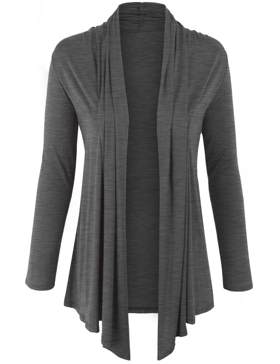 Long Sleeve Draped Open Front Cardigan US Made