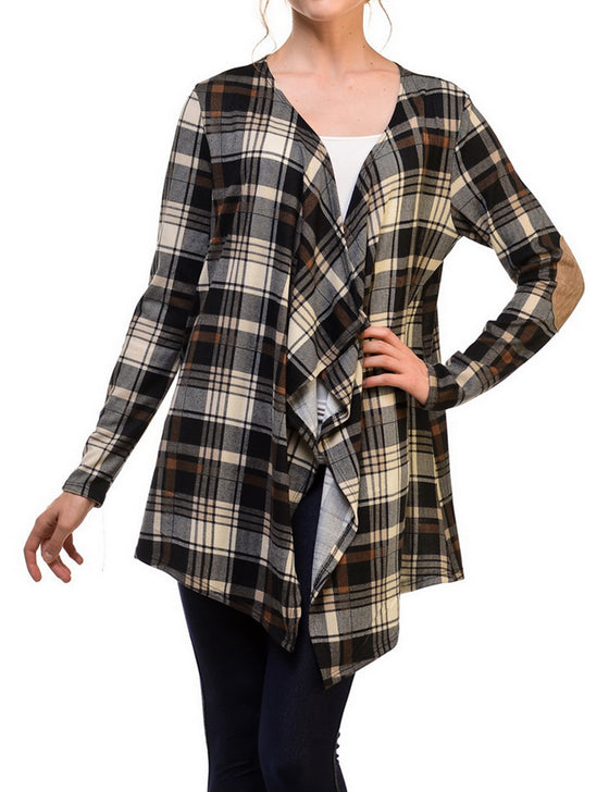 Plaid Print with Suede Elbow Patch Open Cardigan