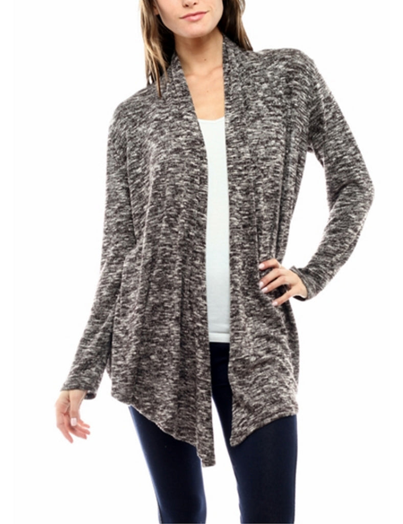 Two Tone Open Front Draped Knit Cardigan Made in USA
