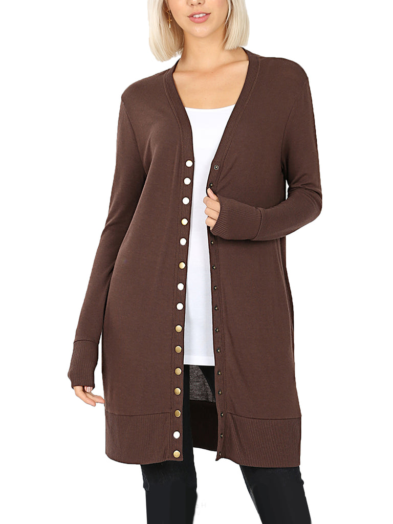 KOGMO Women's Long Knit Cardigan Sweater with Snap Buttons