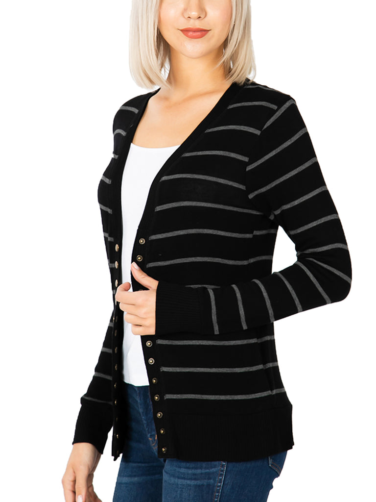 KOGMO Womens Striped Knit Cardigan Sweater with Stud Buttons