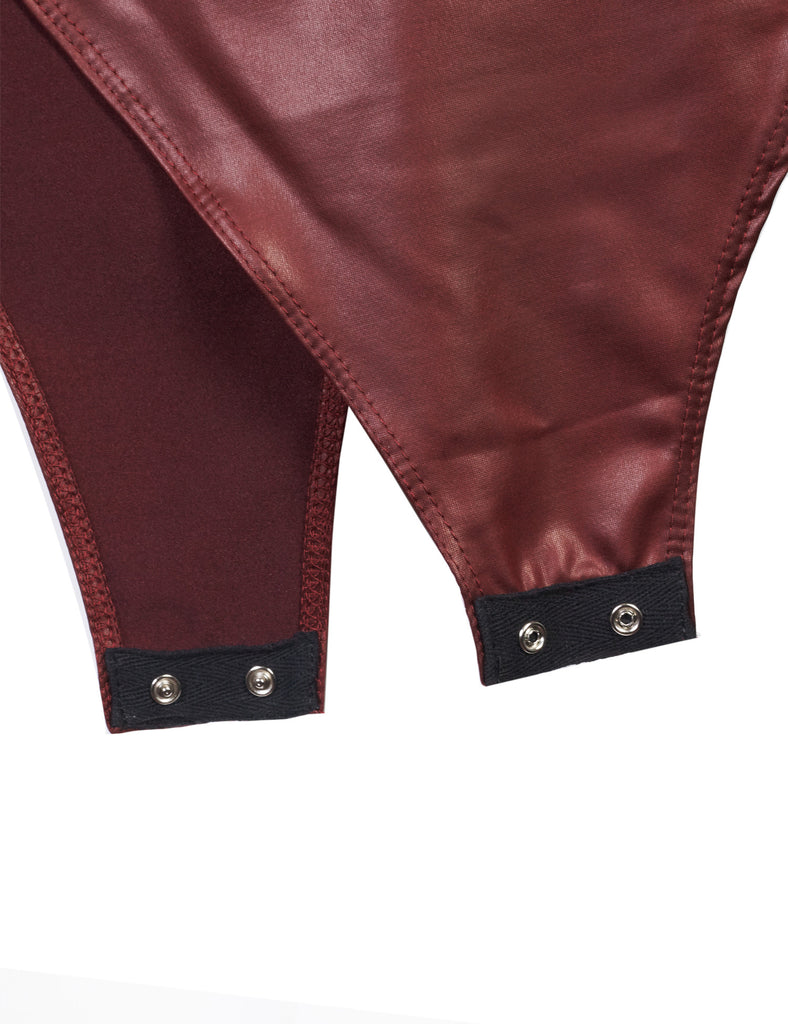 Faux Leather Deep Plunge Arm Hole Sexy Zipper Back Open Bodysuit