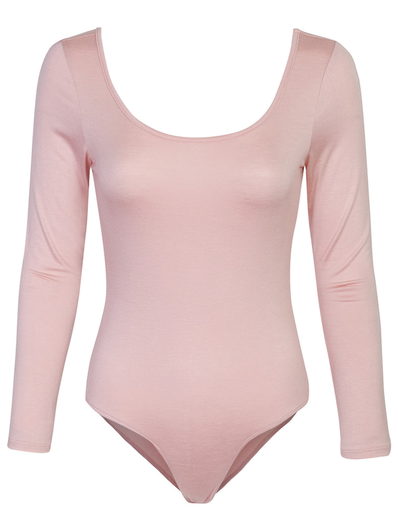 Long Sleeve Scoop Neck Bodysuit with Snap Button Closure