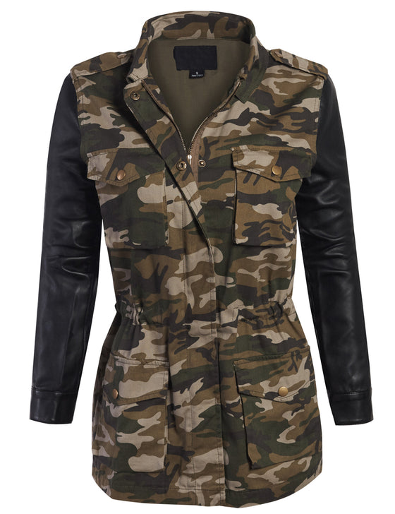 Fully Lined Military Camo Jacket with Faux Leather Long Sleeve