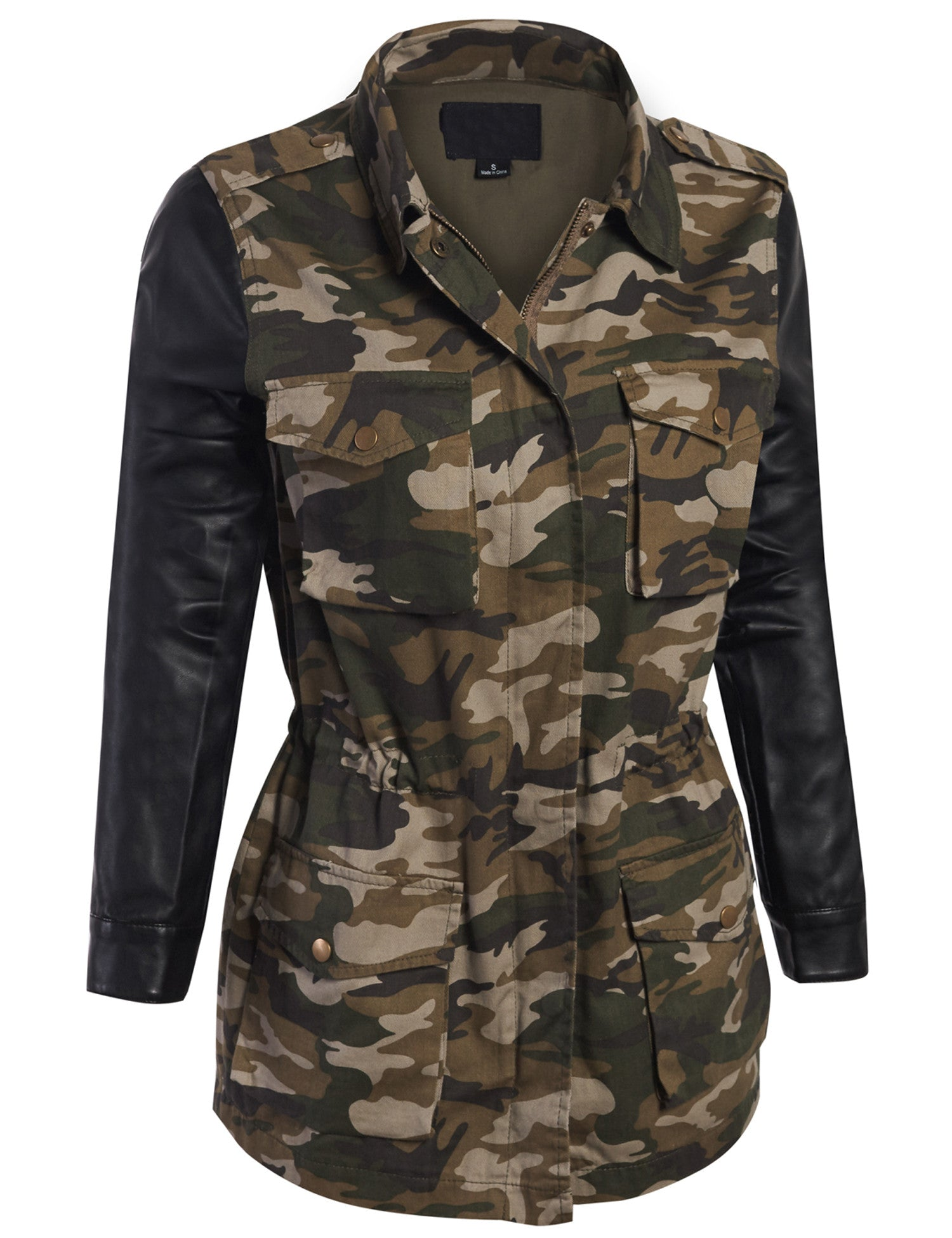Camouflage jacket with leather sleeves