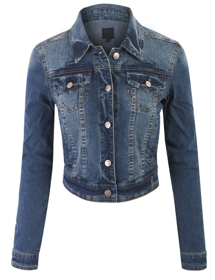 Vintage Wash cropped Denim Jacket with Front Chest and Side Pockets