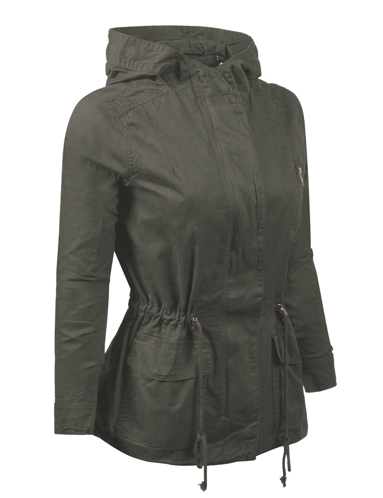 Military Anorak Jacket with Hood and Pocket