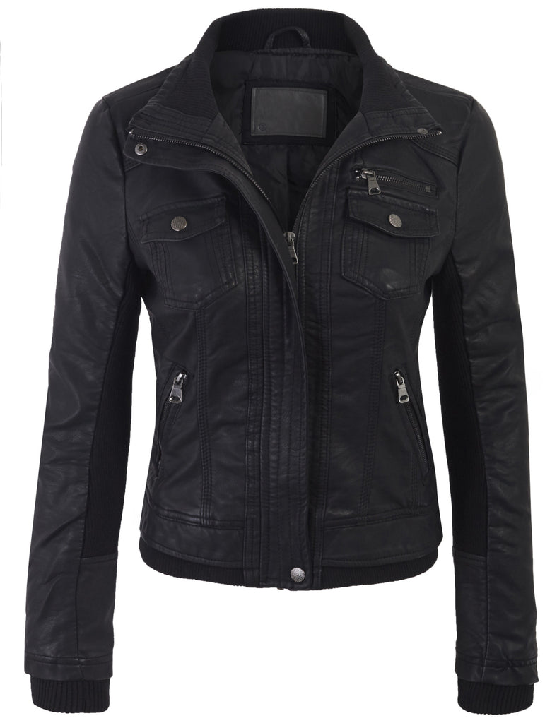 Faux Leather Zip Up Everyday Bomber Jacket with Stretching Sleeve