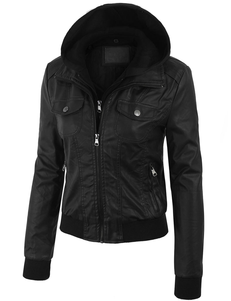 Faux Leather Zip Up Bomber Jacket with Removable Fleece & Hoodie