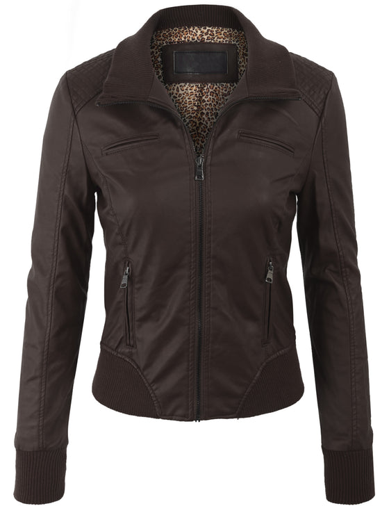 Faux Leather Quilted Zip Up Casual Bomber Jacket