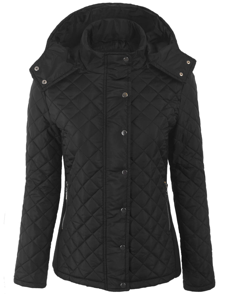 Lightweight Diamond Quilted Jacket with Removable Hoodie