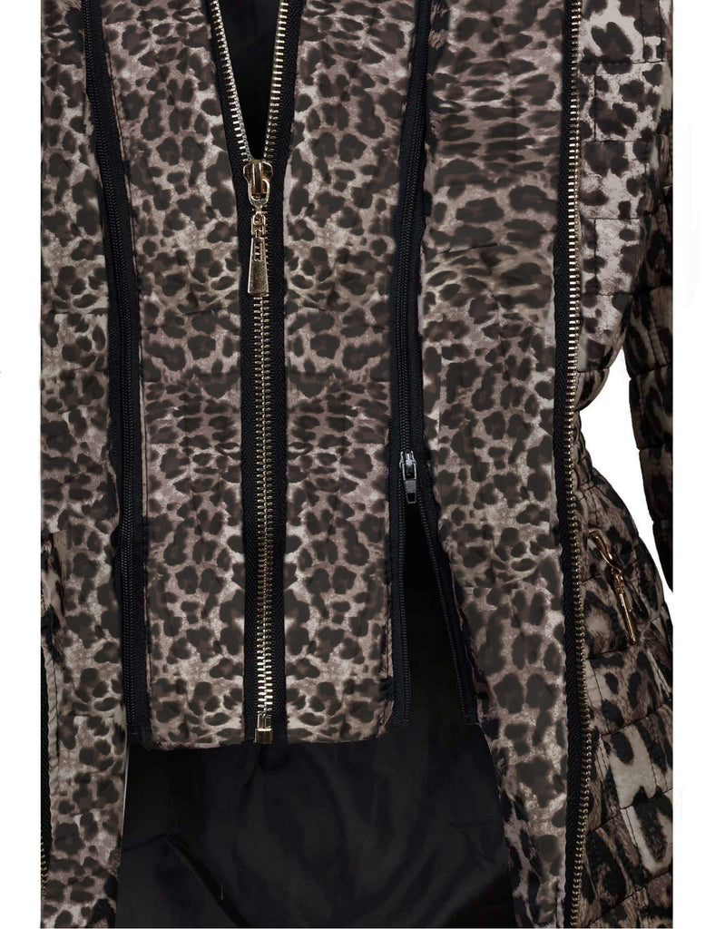 Leopard Quilted Padding Jackets With Detachable Hoodie (S-3X)